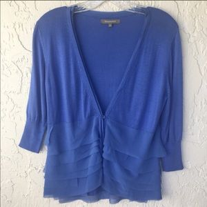 PHILOSOPHY V Neck Blue Sweater Blouse Size Small